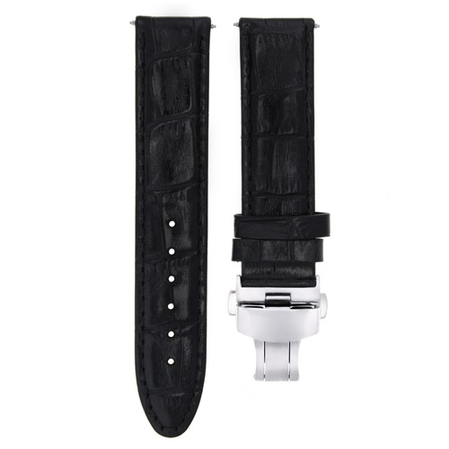 18MM PREMIUM LEATHER WATCH STRAP BAND BUTTERFLY CLASP FOR CITIZEN ECODRIVE BLACK