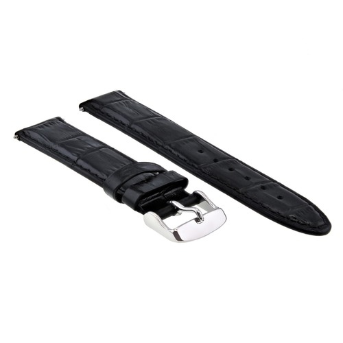 18MM LEATHER WATCH STRAP BAND FOR OMEGA SEAMASTER SPEEDMASTER MOON TQ BLACK #5
