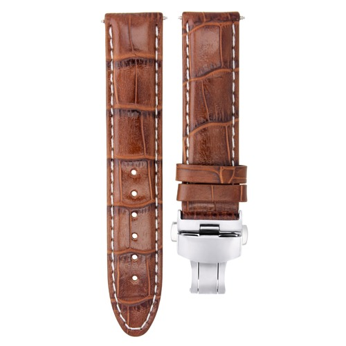 24MM LEATHER WATCH STRAP BAND FOR 42MM TUDOR FASTRIDER BLACK SHEILD L/BROWN WS #7