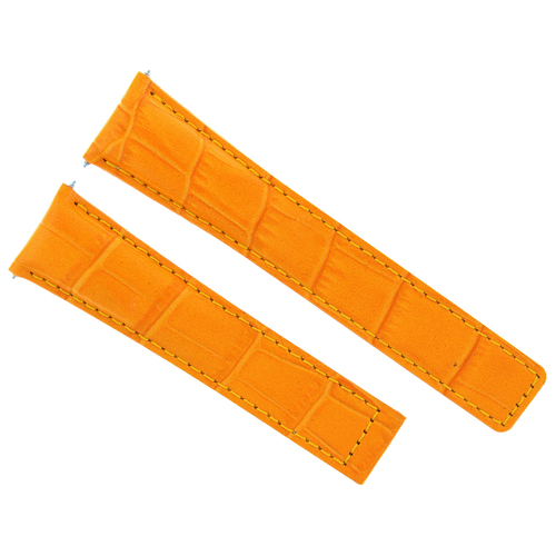 LEATHER WATCH BAND STRAP FOR BREITLING NAVITIMER CHRONOMAT 44 GMT 22/18MM ORANGE