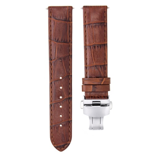 18MM LEATHER WATCH STRAP BAND DEPLOYMENT CLASP FOR TISSOT PRC200 T/Q L/BROWN