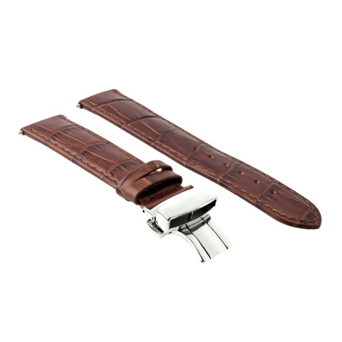 18MM PREMIUM LEATHER WATCH STRAP BAND FOR ROLEX DEPLOYMENT CLASP LIGHT BROWN