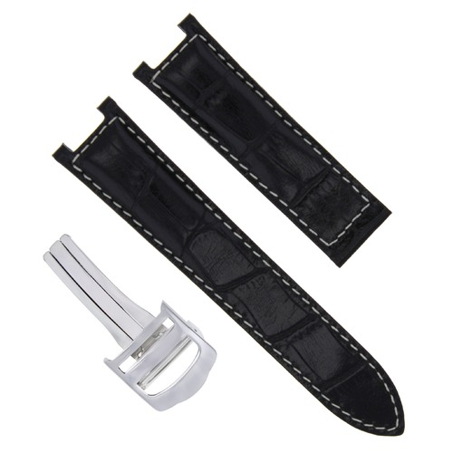 20MM LEATHER WATCH STRAP BAND FIT PASHA DE CARTIER 1352 2378 2388 CLASP BLACK WS