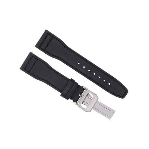 20MM LEATHER WATCH STRAP BAND CLASP FOR IWC PILOT PORTUGUESE  3714-47  BLACK #BC-1