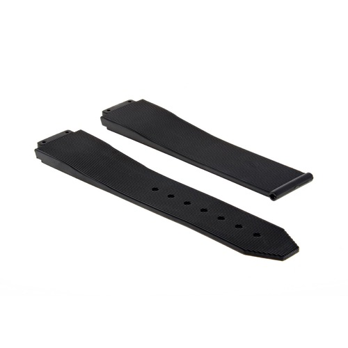 25MM RUBBER WATCH STRAP BAND FOR 44.5MM HUBLOT BIG BANG LUNA ROSSA WATCH BLACK