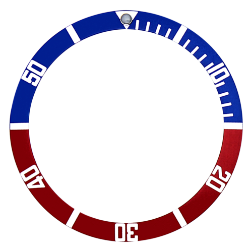BEZEL INSERT FOR SEIKO 6105,7002,6309,7S26,6309,6306,7002,SKX007 RED/BLUE FLAT