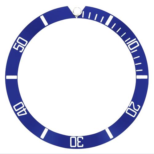 ALUMINUM BEZEL INSERT FOR SEIKO DIVER AUTOMATIC WATCH 38 X 32 BLUE SILVER