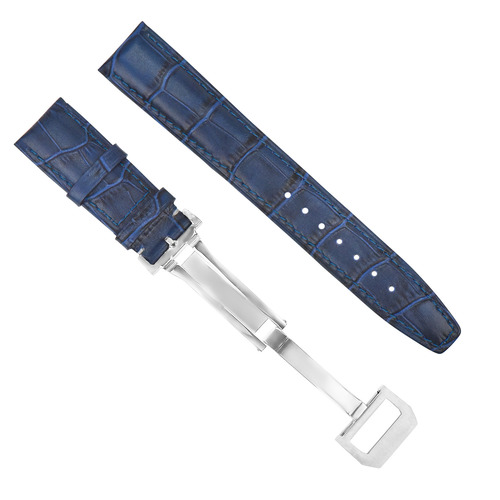 20MM LEATHER WATCH BAND STRAP DEPLOYMENT FOR IWC PILOT PORTUGUESE BLUE + CLASP