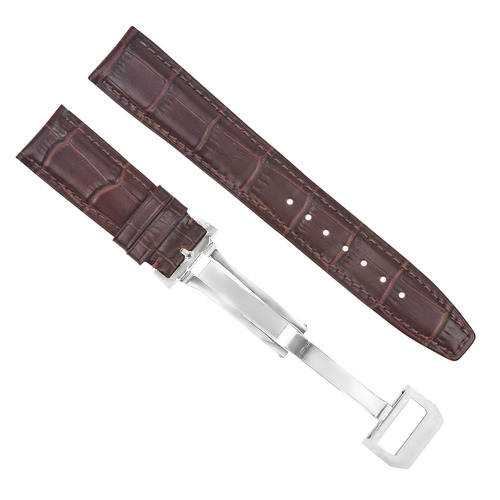 22MM LEATHER WATCH BAND STRAP CLASP FOR IWC BIG PILOT PORTUGUESE AVIATION BROWN