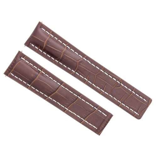 24MM LEATHER WATCH BAND STRAP DEPLOYMENT FOR BREITLING NAVITIMER COLT LIGHT BROWN