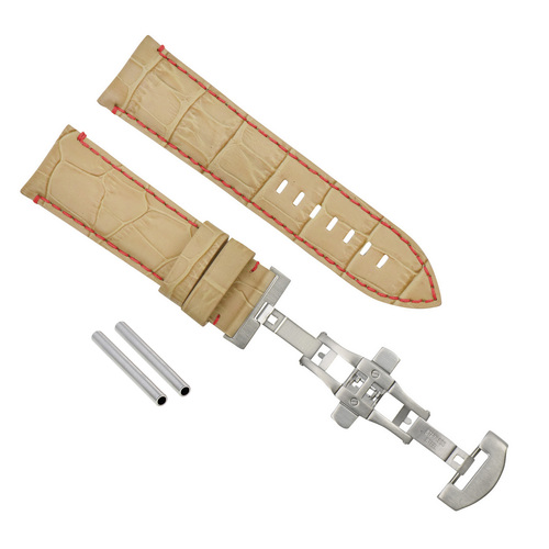24MM LEATHER BAND STRAP CLASP FOR PAM 44MM PANERAI LUMINOR MARINA BEIGE RED ST