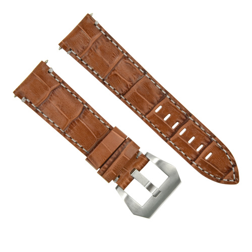 22MM PAM LEATHER WATCH BAND STRAP FOR 40-44MM PANERAI LUMINOR GMT LIGHT BROWN WS