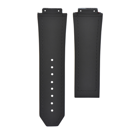 LEATHER RUBBER STRAP FOR 44-45-48MM HUBLOT BIG BANG WITH SCREWS, DRIVER + BUCKLE