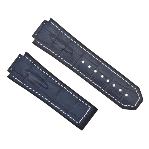 25MM LEATHER RUBBER STRAP FOR 44-45MM HUBLOT BIG BANG BLUE WHITE ST TOP QUALITY