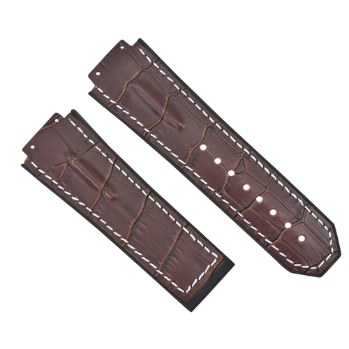 25MM LEATHER RUBBER STRAP FOR 44-45MM HUBLOT BIG BANG WATCH BROWN WHITE ST TOP Q