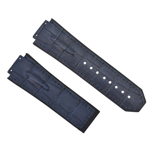 28MM LEATHER RUBBER STRAP FOR 48MM HUBLOT BIG BANG CERAMIC F1 KING POWER BLUE TQ