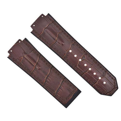 28MM LEATHER RUBBER STRAP FOR 48MM HUBLOT BIG BANG CERAMIC F1 KING POWER BROWN