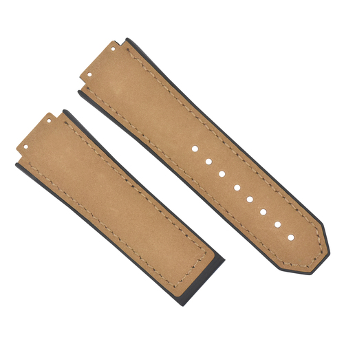27MM SUEDE LEATHER BAND STRAP FOR HUBLOT BIG BANG CERAMIC FUSION L/BROWN/TAN TQ