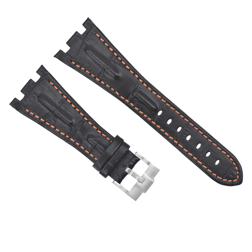 28MM LEATHER WATCH STRAP BAND FOR AP 42MM AUDEMARS PIGUET ROO BLACK ORANGE STIT
