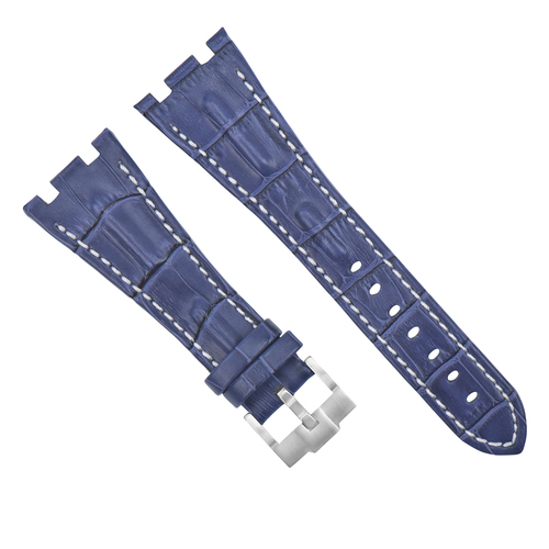 28MM LEATHER WATCH STRAP BAND FOR AP 42MM AUDEMARS PIGUET ROO BLUE WHITE STITCH