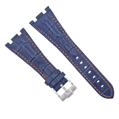 28MM LEATHER WATCH STRAP BAND FOR AP 42MM AUDEMARS PIGUET ROO BLUE ORANGE STITCH