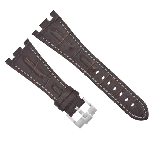 28MM LEATHER WATCH STRAP BAND FOR AP 42MM AUDEMARS PIGUET ROO BROWN WHITE TOP QY