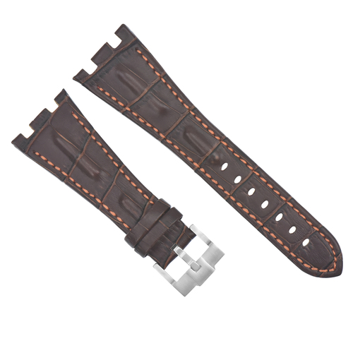 28MM LEATHER WATCH STRAP BAND FOR AP 42MM AUDEMARS PIGUET ROO BROWN ORANGE STIT