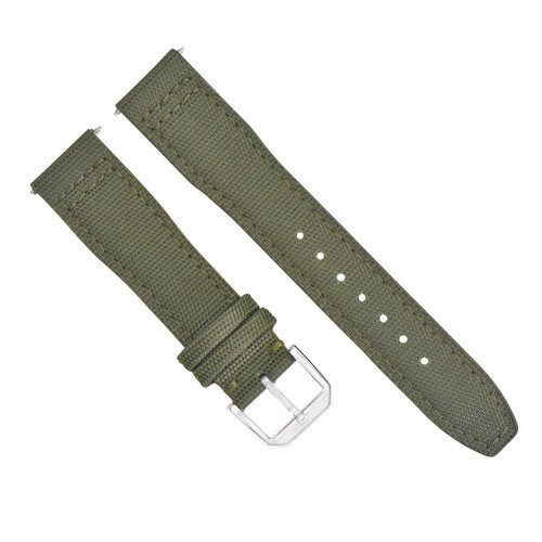 20MM CANVAS LEATHER WATCH BAND  FOR IWC PILOT TOP GUN PORTUGUESE GREEN + BUCKLE