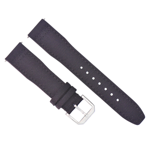 22MM CANVAS LEATHER WATCH BAND FOR IWC PILOT TOP GUN PORTUGUESE BLACK + BUCKLE