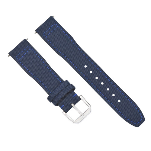 22MM CANVAS LEATHER WATCH BAND  FOR IWC PILOT TOP GUN PORTUGUESE BLUE + BUCKLE