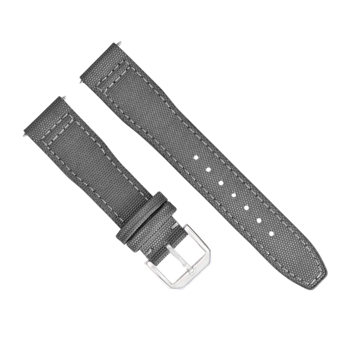 22MM CANVAS LEATHER WATCH BAND  FOR IWC PILOT TOP GUN PORTUGUESE GREY + BUCKLE