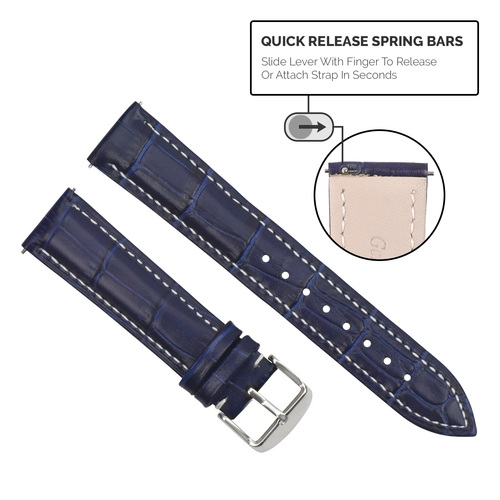 16-18-19-20-22-24MM GENUINE LEATHER WATCH BAND STRAP-QUICK RELEASE SPRING BAR