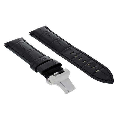 24MM LEATHER STRAP BAND FOR PAM 44MM PANERAI 88 562 441  DEPLOYMENT CLASP BLACK