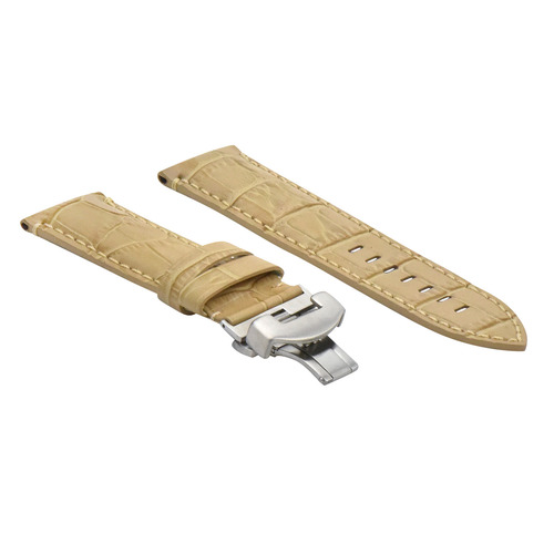 24MM LEATHER BAND STRAP CLASP FOR PAM 44MM PANERAI LUMINOR MARINA BEIGE WHITE ST