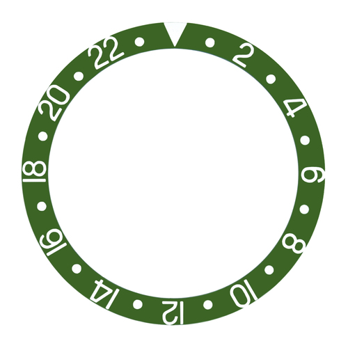 BEZEL INSERT FOR 40MM INVICTA PRO DIVER AUTOMATIC WATCH GREEN WITH SILVER FONTS