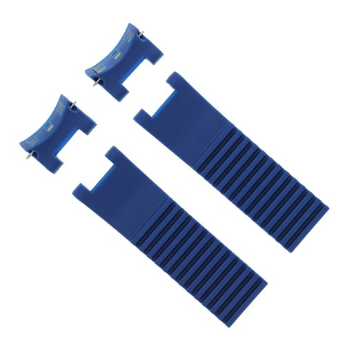 22MM SILICONE RUBBER DIVER BAND STRAP FOR ULYSSE NARDIN MARINE BLUE