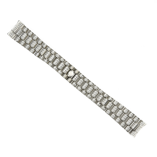 WATCH BAND FOR MENS 36MM ROLEX PRESIDENT WATCH BAND CZ CENTER STONES STAINLESS S