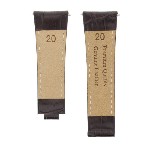 LEATHER STRAP WATCH BAND FOR ROLEX DAYTONA 16518 16519 16520 16528 D/BROWN SHORT