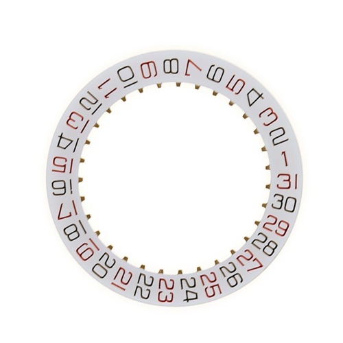 WHITE ROULETTE DATE DISC WHEEL FOR ETA 2824-2 WATCH BLACK/RED NUMBER MOVEMENT