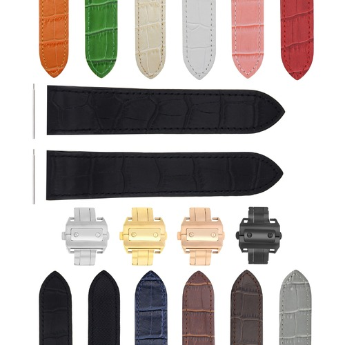 COMPLETE 20-23-24.5MM LEATHER WATCH BAND STRAP FOR CARTIER SANTOS 100 XL CHRONO