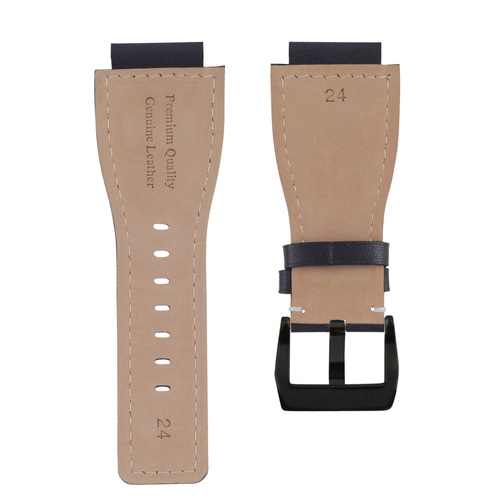 24MM SMOOTH LEATHER WATCH BAND STRAP FOR BELL ROSS BR-01-BR-03 BLACK BUCKLE