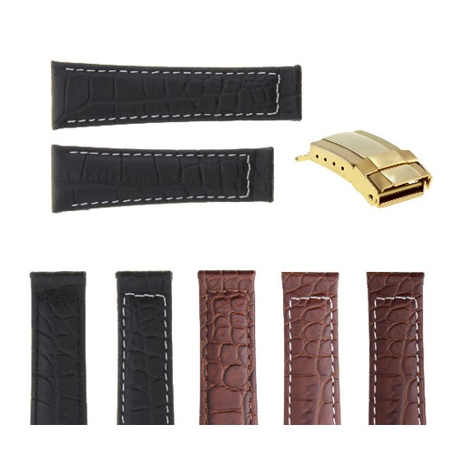 20MM CROC LEATHER WATCH BAND STRAP FOR ROLEX DAYTONA 16519 116520 + GOLD BUCKLE