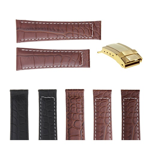 20MM CROC LEATHER WATCH BAND STRAP FOR ROLEX DAYTONA MATTE FINISH + GOLD BUCKLE