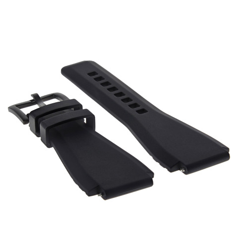 24MM SILICONE RUBBER WATCH BAND STRAP FOR BELL & ROSS BR-01-BR-03 + BLACK BUCKLE