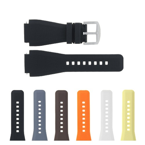 24MM SILICONE RUBBER WATCH BAND STRAP FOR BELL & ROSS BR-01-BR-03 + STEEL BUCKLE