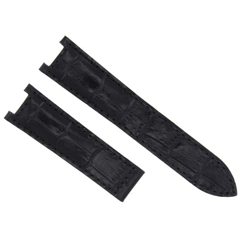 21MM LEATHER WATCH STRAP BAND DEPLOYMENT FIT 42MM CARTIER PASHA 3027 WATCH BLACK