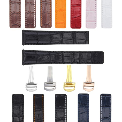 18-20MM LEATHER WATCH BAND STRAP FOR FIT CARTIER TANK FRANCAISE DEPLOYMENT CLASP
