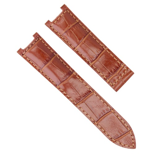 LEATHER WATCH STRAP BAND CLASP FOR 42MM CARTIER PASHA WATCH CHRONOGRAPH 21MM TAN