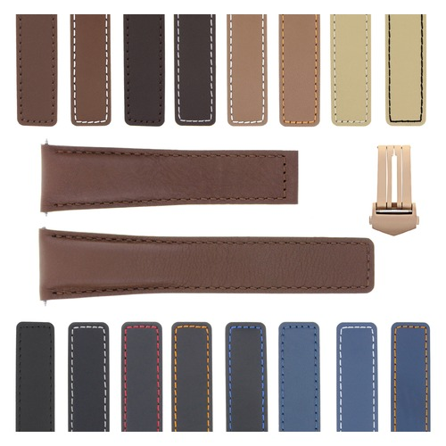 19-20-22MM LEATHER WATCH BAND STRAP  FOR TAG HEUER CARRERA MONACO CLASP ROSE