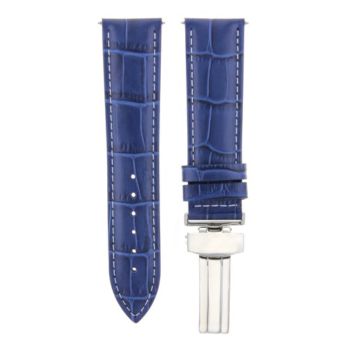 24MM LEATHER WATCH BAND STRAP FOR BULOVA ACCUTRON WATCH DEPLOYMENT CLASP BLUE WS